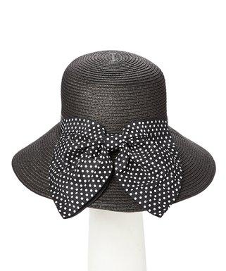 ba6a6e9c85 Boardwalk Style | Black Polka Dot Bow Wide-Brim Sunhat