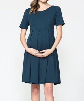 ea413ca1d1b1e Hello Miz Maternity | Teal Pleated Maternity Empire-Waist Dress - Women