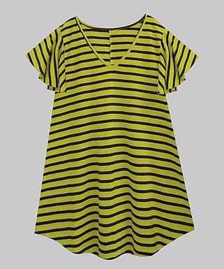 e8705a07576 Lime Green   Black Stripe Tunic Flutter-Sleeve V-Neck Tunic - Women