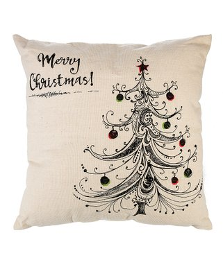 Ivory 'Merry Christmas!' Tree Throw Pillow