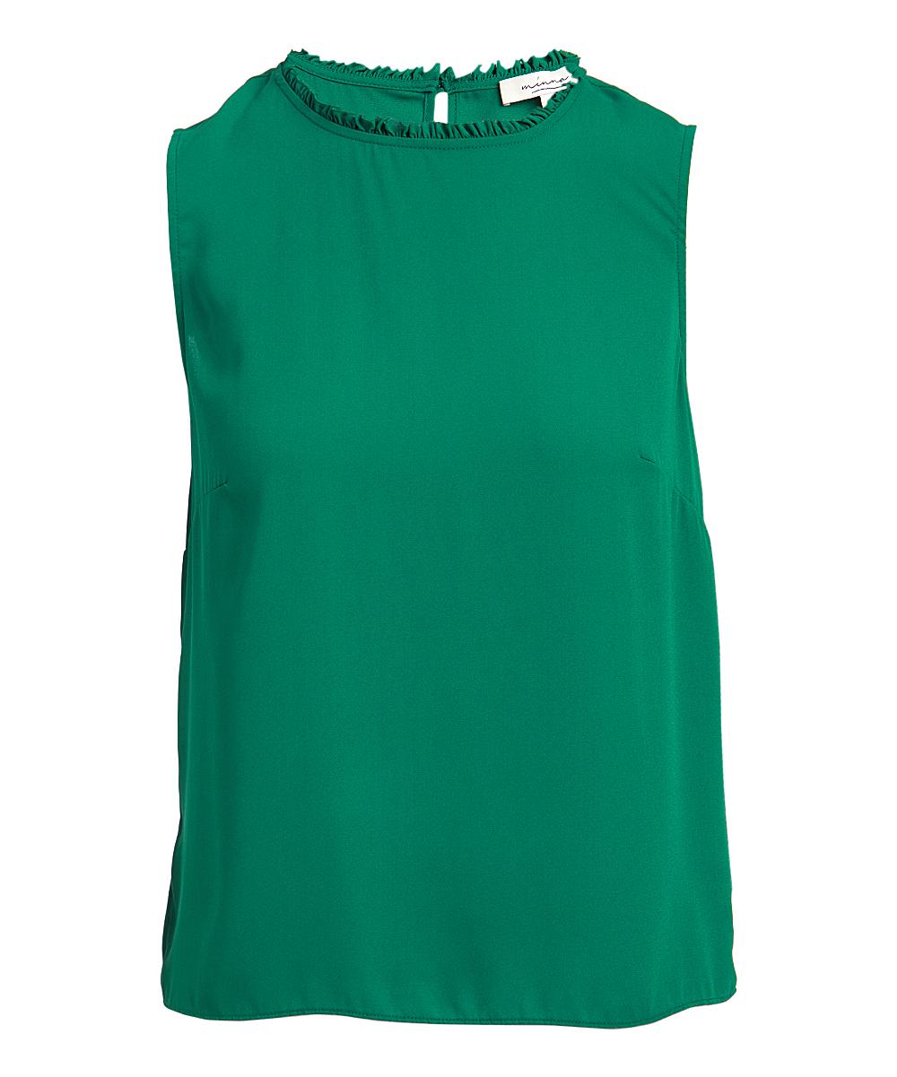 Minna Women's Blouses Forest - Forest Green Ruffle-Neck Sleeveless Top - Women & Plus