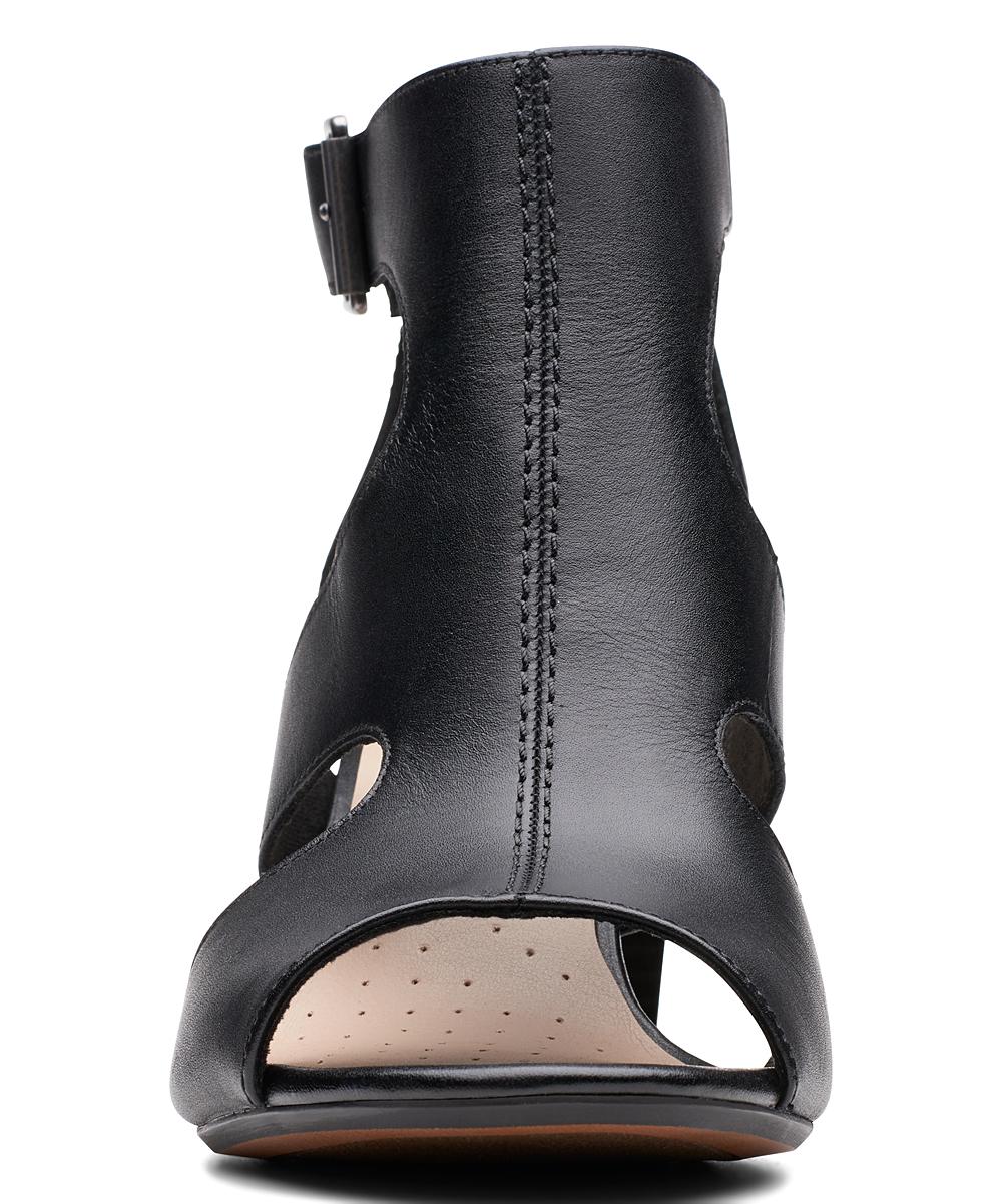Clarks Black Deva Heidi Leather Sandal Women