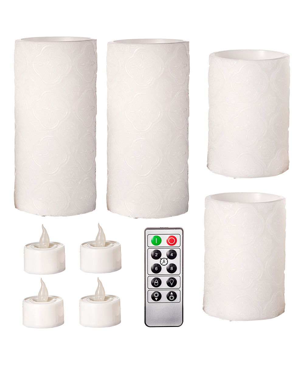 Darice  Electric Candles  - White Medallion Remote-Control LED Candle & Tealight Set