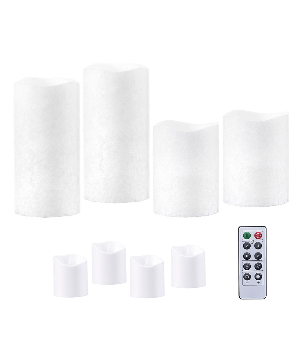 Darice  Electric Candles  - White Marbled Remote-Control LED Candle & Votive Set