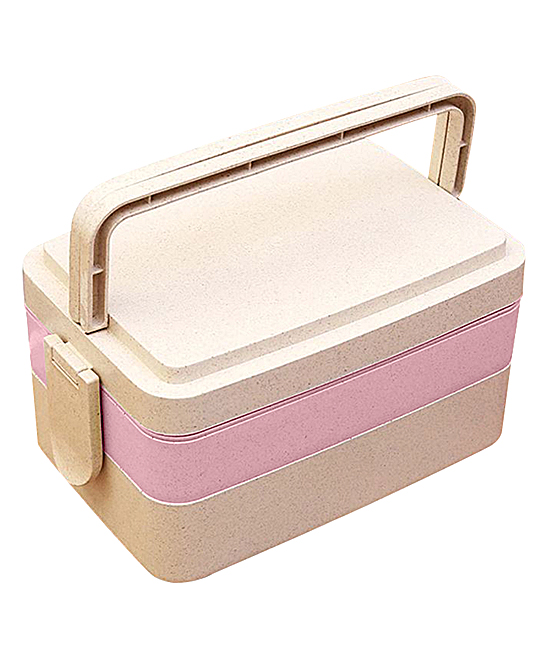 Heavens Kitchen  Lunch Bags and Lunch Boxes Pink - Pink Three-Layer Bento Lunch Box
