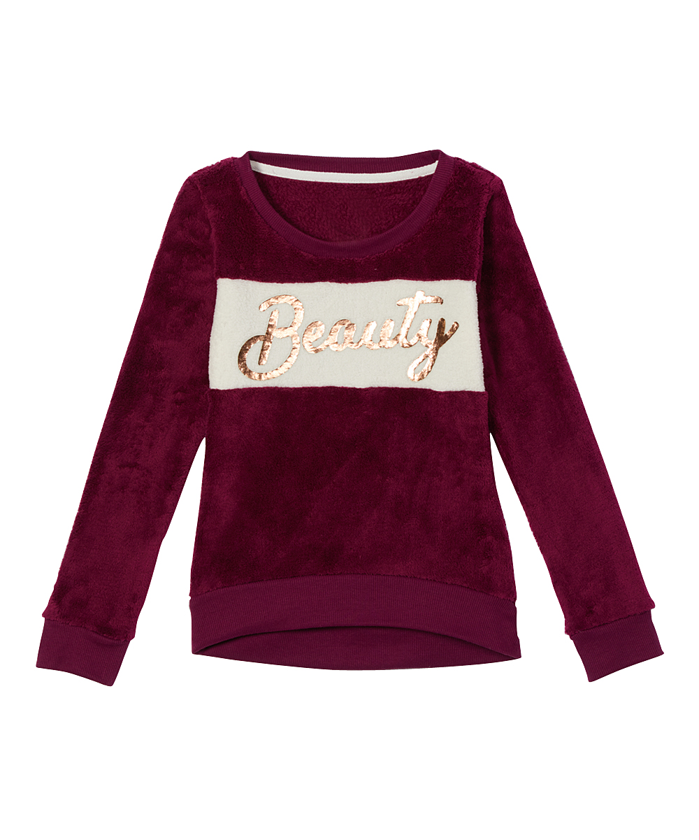 One Step Up Girls' Tunics burgundy - Burgundy 'Beauty' Fuzzy Tunic - Girls