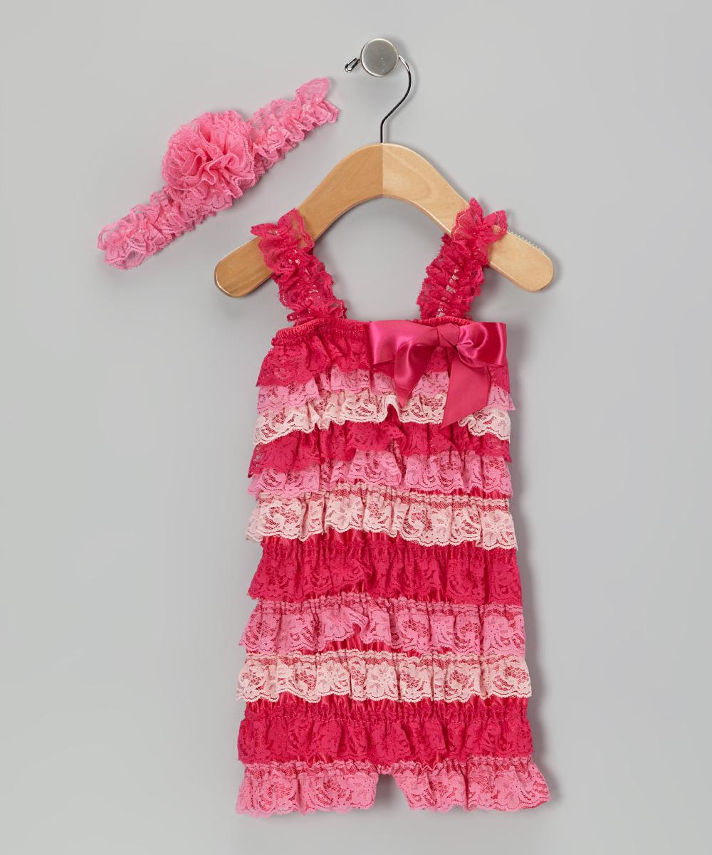 e197b70f2ac9 Whitney Elizabeth Hot Pink Lace Ruffle Romper   Flower Headband ...