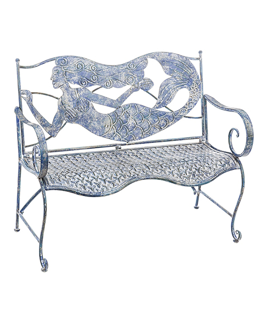 Sensational Evergreen Blue Mermaid Metal Bench Gmtry Best Dining Table And Chair Ideas Images Gmtryco