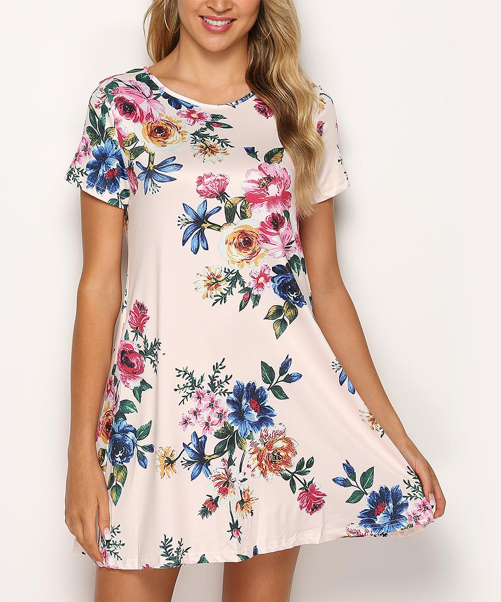 Pink Floral Pocket T-Shirt Dress - Women & Plus