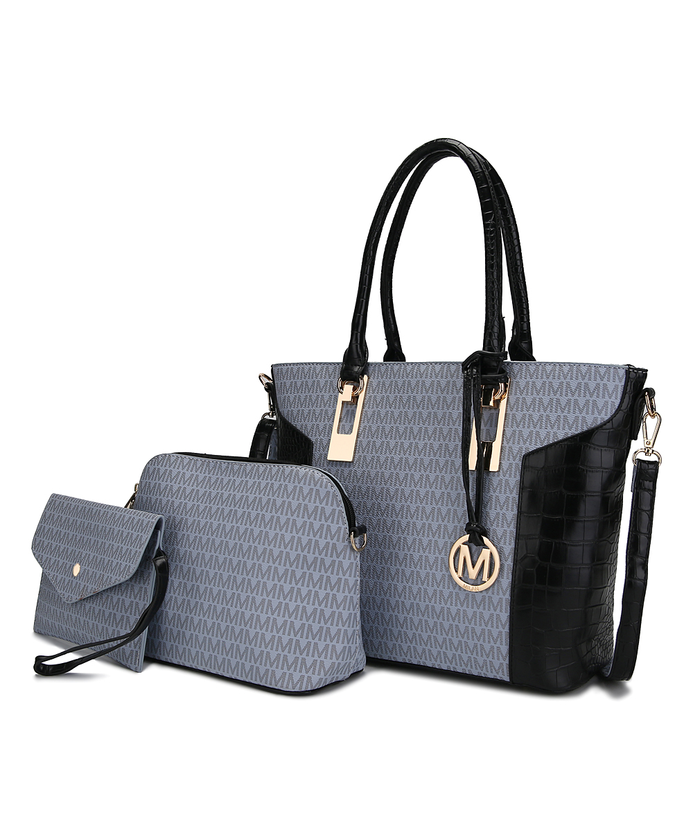 MKF Collection by Mia K. Farrow Women's Handbags  - Gray & Black Signature Croc-Embossed 3-in-1 Top-Zip Tote