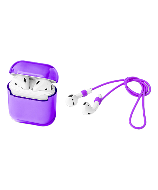 Transparent Purple Case Cover & Headphone Strap for Airpods