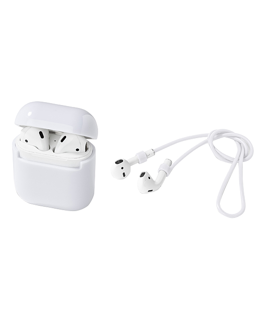 White Case Cover & Headphone Strap for Airpods White Case Cover & Headphone Strap for Airpods. With an ultra slim design and durable build this sleek case cover set allows you to wirelessly charge your Apple Airpods while keeping the case free from scratches. Added headphone straps allow further security and coordination when you're on the move. Includes case cover and headphone strapAirpods and Airpod case not included1.5'' W x 2.5'' H x 0.3'' DPolycarbonateCompatible with Airpod series 1 and 2Imported
