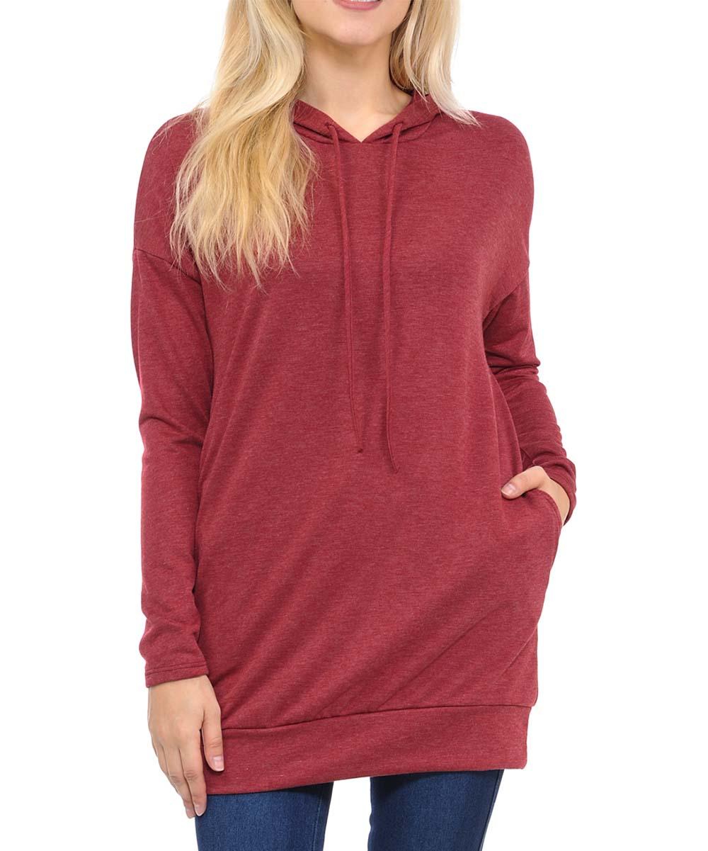INCH & FIT Women's Sweatshirts and Hoodies BURGUNDY2T - Burgundy Side-Pocket Hoodie - Women