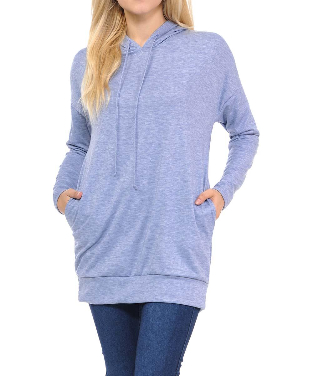 INCH & FIT Women's Sweatshirts and Hoodies HEATHERBLUE - Heather Blue Side-Pocket Hoodie - Women
