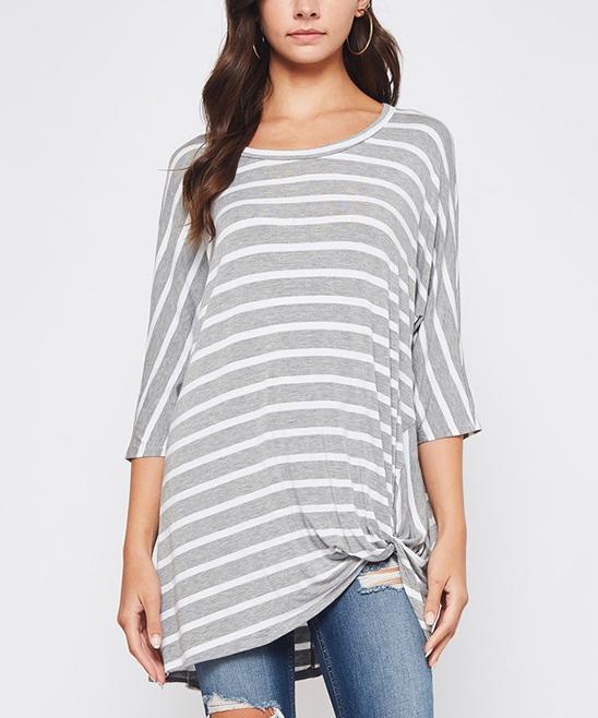Gray & White Stripe Knot-Hem Boatneck Tunic - Plus