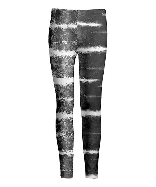 Gray & White Tie-Dye Stripe Leggings - Women & Plus
