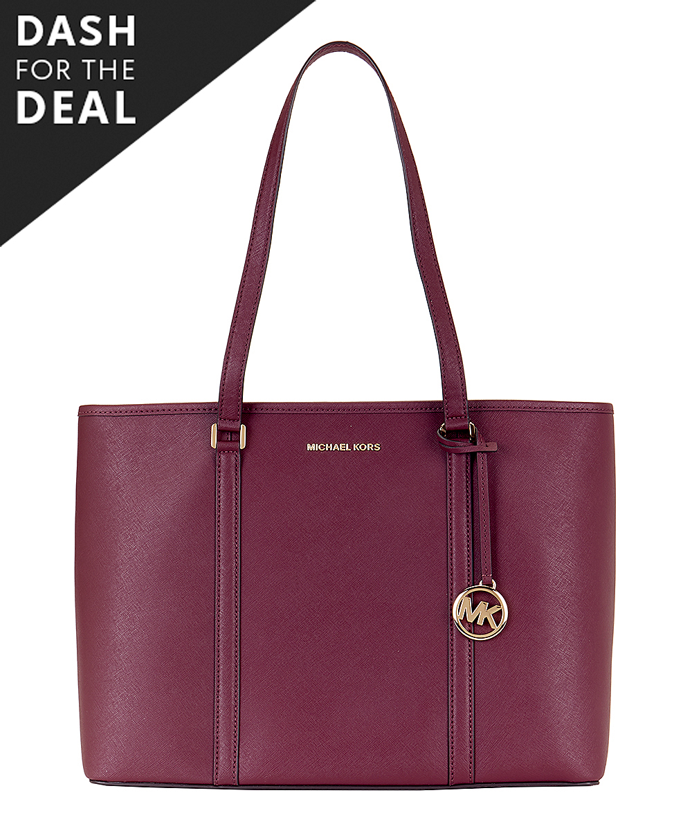 Merlot Signature Sady Large Leather Tote