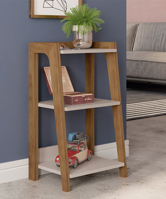 Manhattan Comfort  Coffee Tables Off - Gowanus Modern Ladder Side Table with 3 Shelves in off White