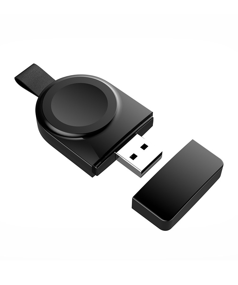Black Portable USB Wireless Charger for Apple Watch Black Portable USB Wireless Charger for Apple Watch. Streamline your day-to-day routines through innovation thanks for this charger, featuring a wireless composition and optimal portability.2.6'' W x 0.4'' H x 1.3'' DABSAutomatically absorbs and charges watchInput 5V/1AOutput: 2.5WSutible for: Apple Watch series 1 / 2 / 3 / 4Imported