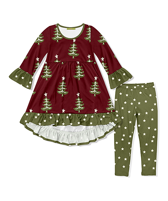 Toddler Christmas Dresses.Millie Loves Lily Burgundy Christmas Tree Ruffle Trim A Line Dress Star Leggings Girls