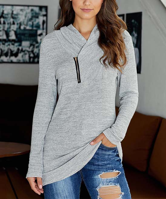 TE.CREW by Zesica Women's Pullover Sweaters Gray - Gray Zipper-Accent All This Time Asymmetrical Top - Women