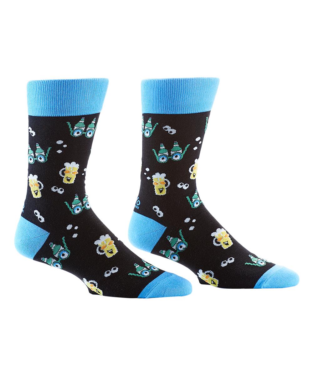 YoSox Men's Socks  - Black & Blue Beer Goggle Socks - Men
