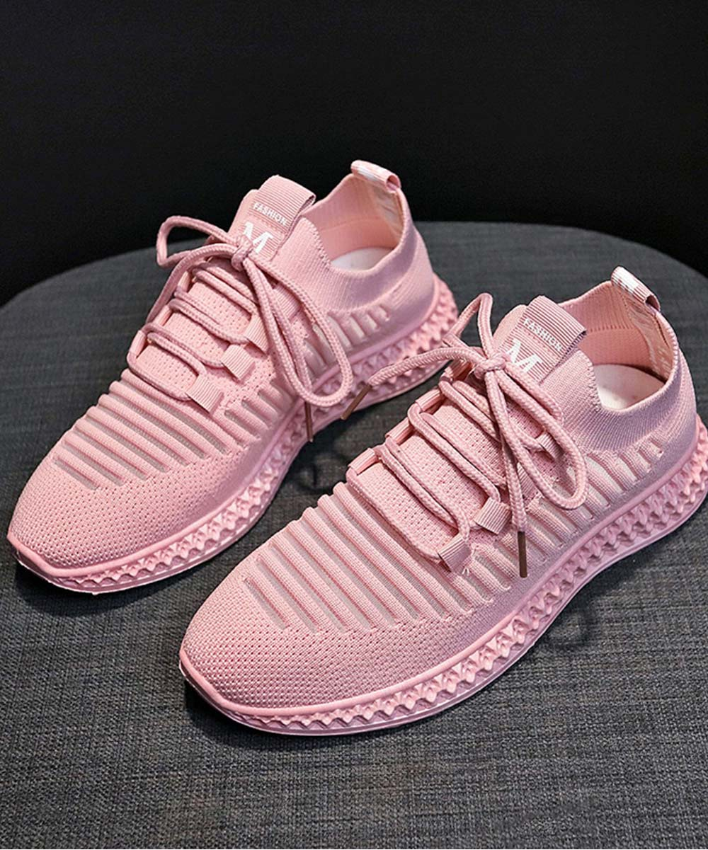 Pink Ribbed Lace-Up Sneakers - Women