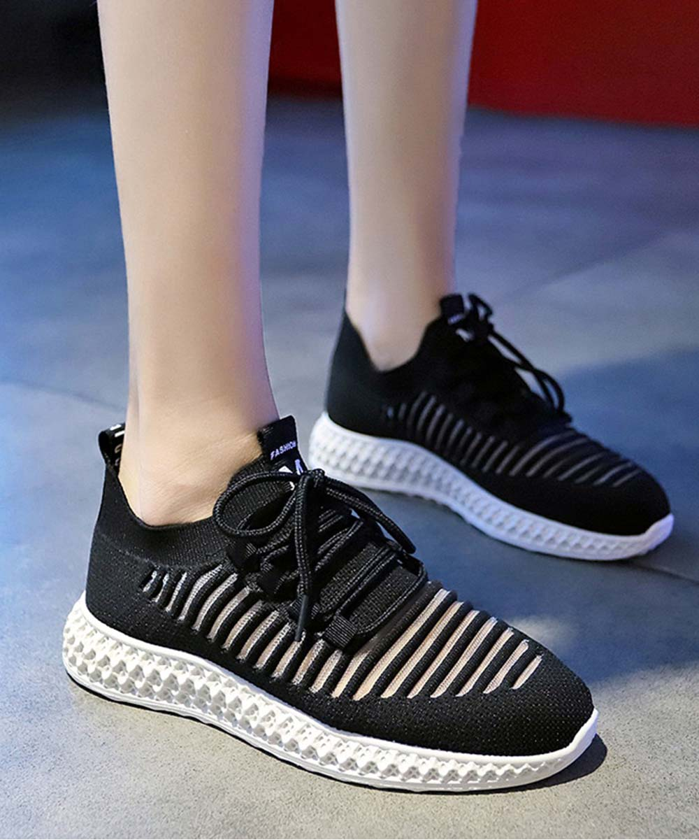 Black Ribbed Lace-Up Sneakers - Women