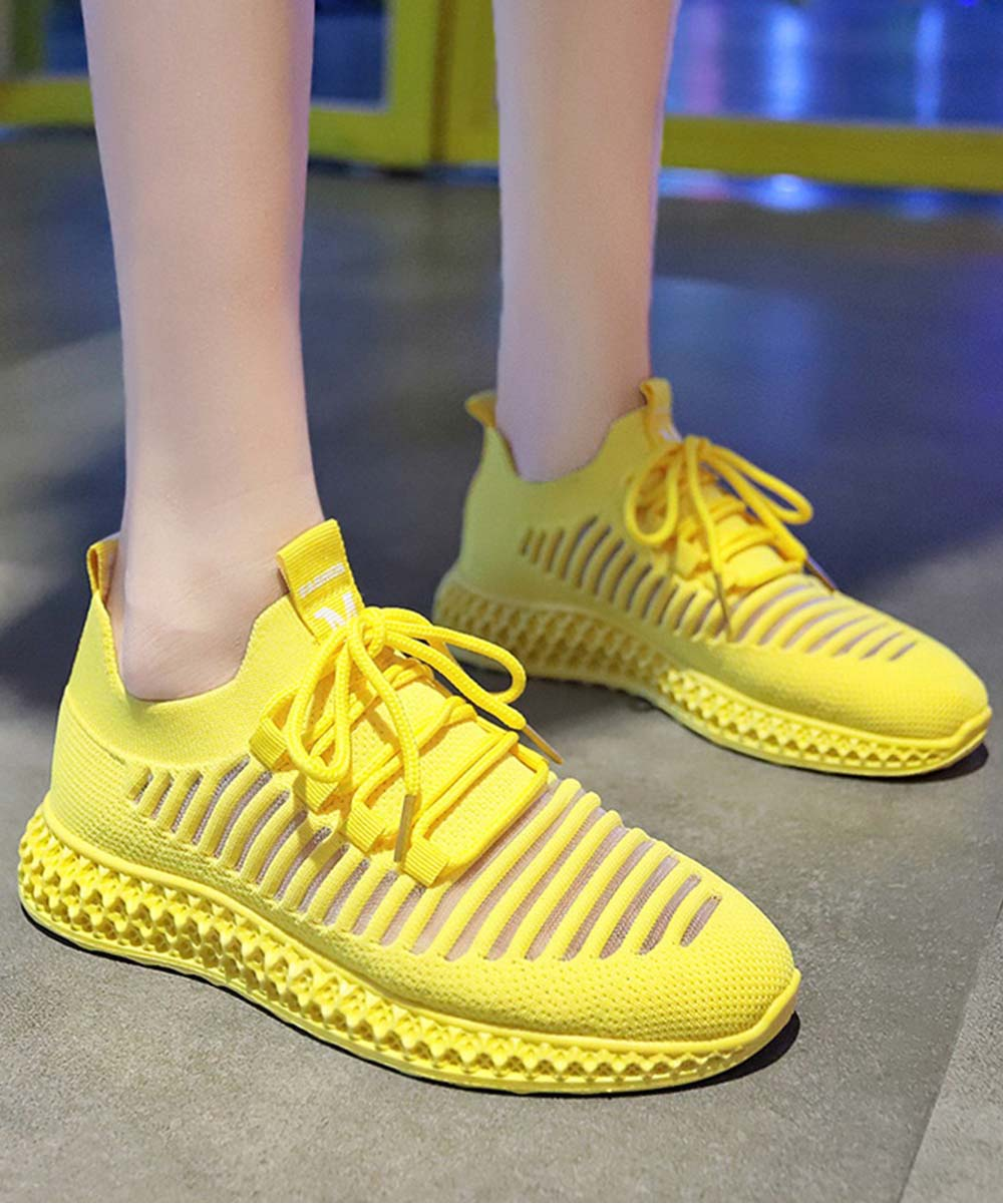 Yellow Ribbed Lace-Up Sneakers - Women