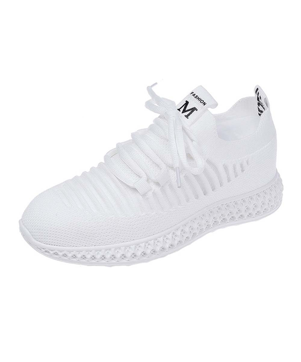 White Ribbed Lace-Up Sneakers - Women