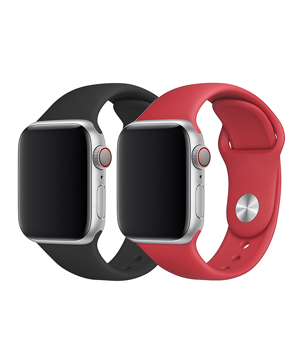 Doossy  Smart Watches black - Black & Red Silicone Band Set for Apple Watch