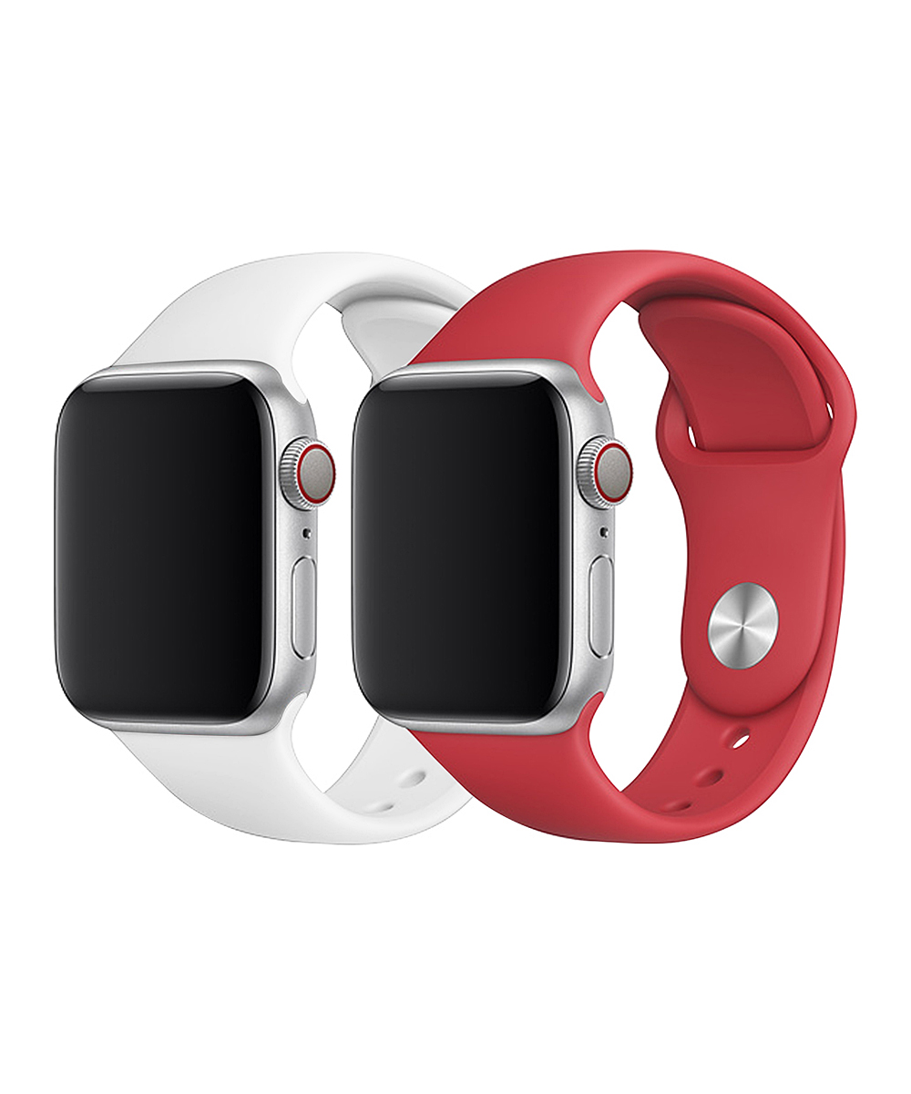 Doossy  Smart Watches white - White & Red Silicone Band Set for Apple Watch