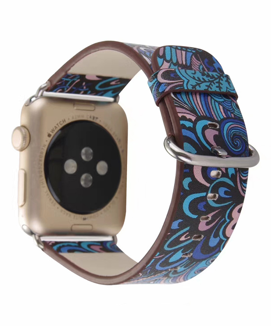 Essager  Replacement Bands Blue - Blue Floral Leather Band Replacement for Apple Watch