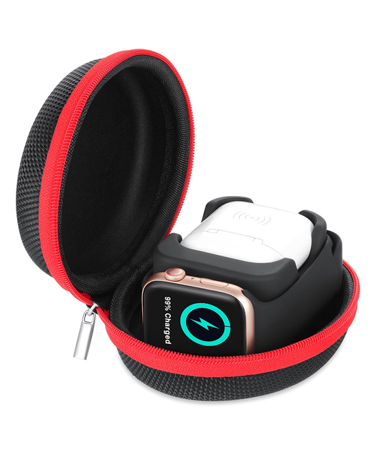 Essager  Apple Watch Cables Black - Black & Red Apple Watch Charger, Cable Storage & Phone Stand Black & Red Apple Watch Charger, Cable Storage & Phone Stand. Keep your Apple Watch and charging accessories organized with this storage case that can also be used as a stand for your phone. Charging accessories not included4.6'' W x 2'' H x 3.6'' DSiliconeImported