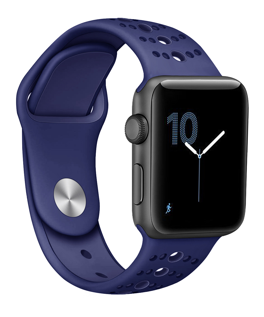Nayu  Smart Watches Navy - Navy Blue Dot Silicone Band Replacement for Apple Watch