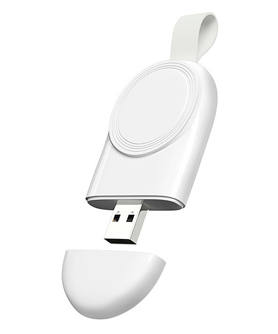 Shou  Apple Watch Cables White - White & Gray Wireless Apple Watch Charger White & Gray Wireless Apple Watch Charger. Upgrade your Apple Watch charger to a cable-free experience with this convenient charger that simply plugs into any USB outlet. 3.23'' W x 0.52'' H x 1.46'' DABS / polycarbonateImported
