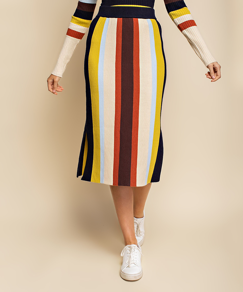 Avenue Hill Women's Pencil Skirts LIME - Lime & Orange Stripe Ribbed Midi Skirt - Women