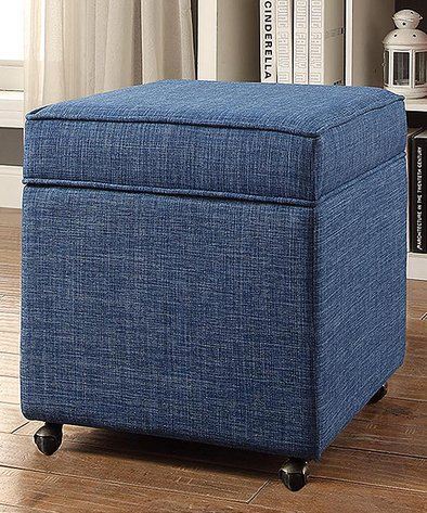 Magnificent Inspired Home Blue Martina Linen Hidden Storage Cube Ottoman Forskolin Free Trial Chair Design Images Forskolin Free Trialorg