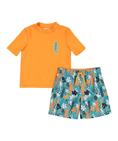 Freestyle Revolution Toddler Boys Whale of a Tail Rash Guard Top and Shorts Set