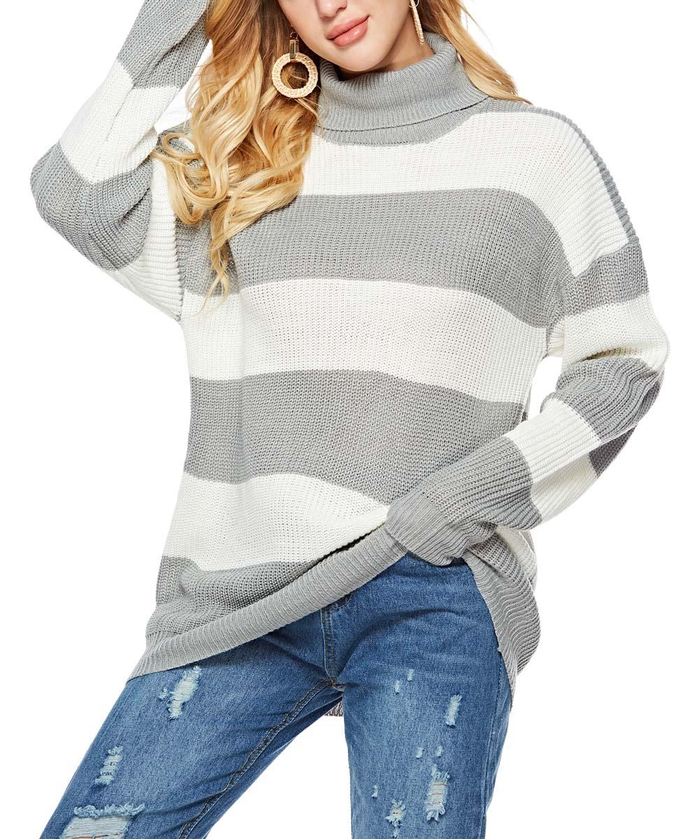 N&S Women's Pullover Sweaters gray&white - Gray & White Stripe Oversize Turtleneck Sweater - Women