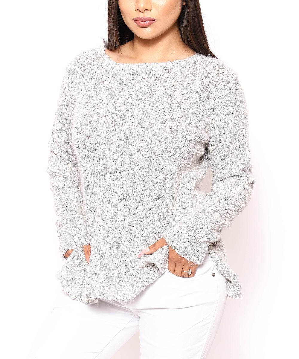 Jeyrey Women's Pullover Sweaters GRAY - Gray & White Speckled Sweater - Women & Plus