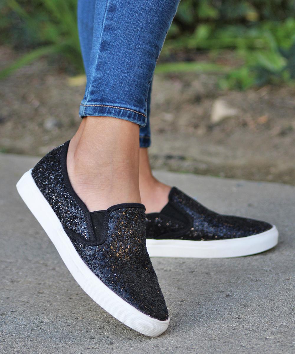 Mata Shoes Women's Sneakers BLACK - Black Glitter Slip-On Sneaker - Women