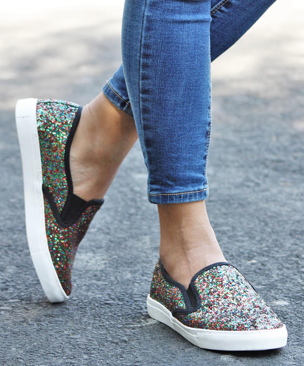 Mata Shoes Women's Sneakers MULTI - Green & Red Glitter Slip-On Sneaker - Women