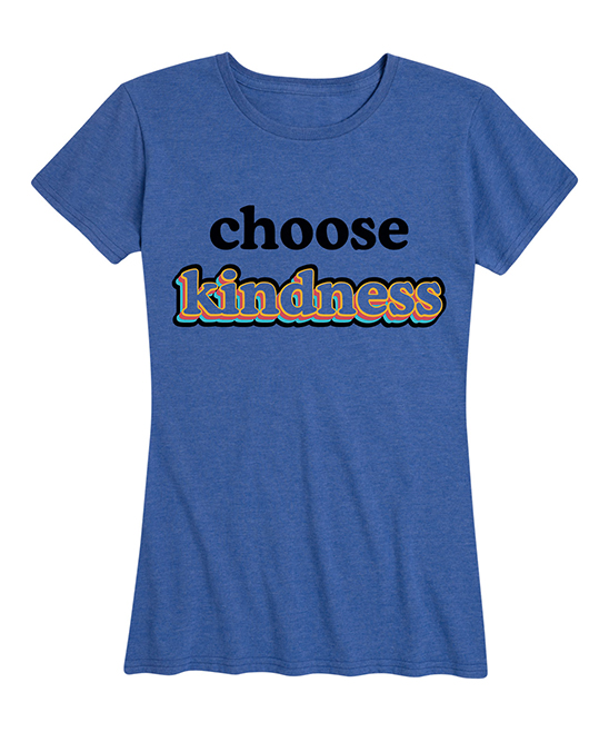 Instant Message Women's Women's Tee Shirts HEATHER - Heather Royal Blue 'Choose Kindness' Relaxed-Fit Tee - Women