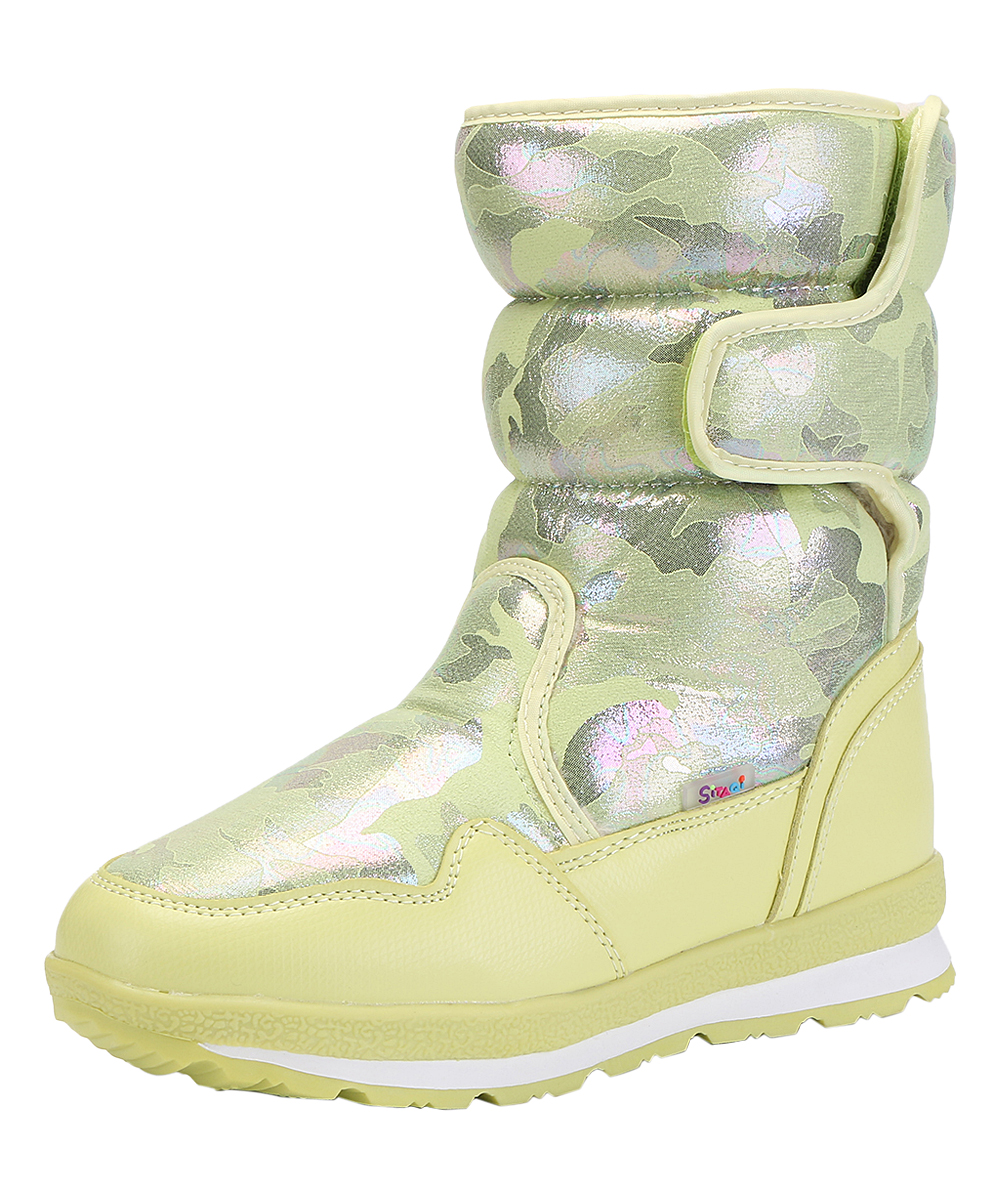 SITAQI Women's Cold Weather Boots Lemon - Lemon Camouflage Quilted Faux Fur-Lined Snow Boot - Women