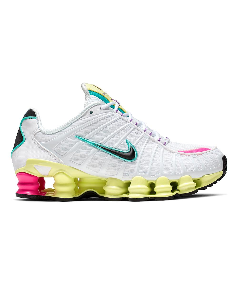 Nike Women's Sneakers White/Black - White & Luminous Green Shox TL Sneaker - Women