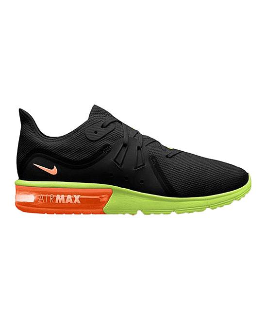 Nike Men's Running Shoes Black/Total - Black & Total Orange Air Max Sequent 3 Running Shoe - Men