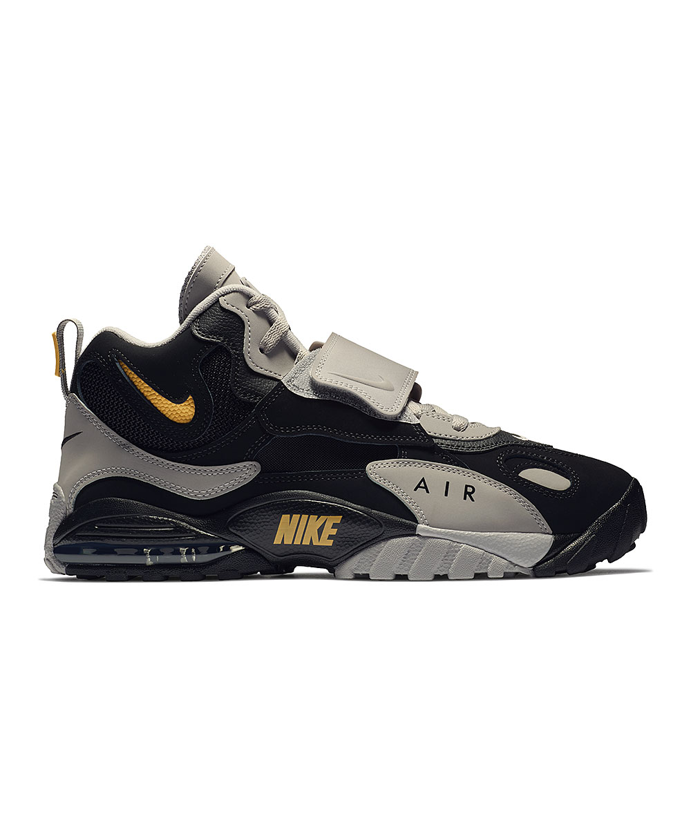 Nike Men's Sneakers Black/Yellow - Black & Atmosphere Gray Air Max Speed Turf Leather Basketball Sneaker - Men