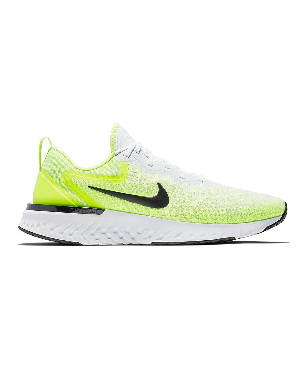 Nike Men's Sneakers White/Black - White & Volt Odyssey React Running Shoe - Men