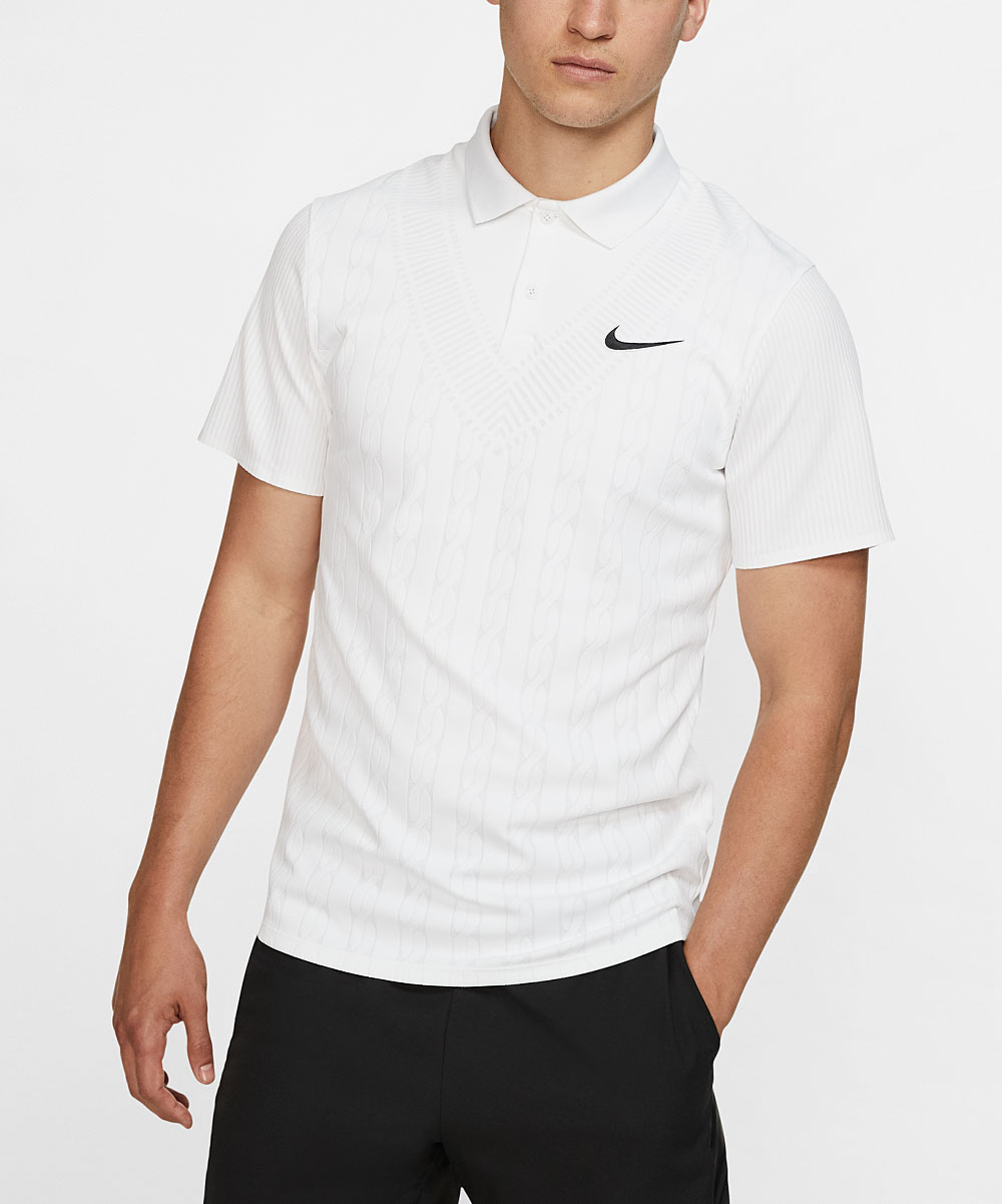 Nike Men's Polo Shirts White/White/Black - White & Black Dri-FIT Cable-Knit Court Advantage Polo - Men